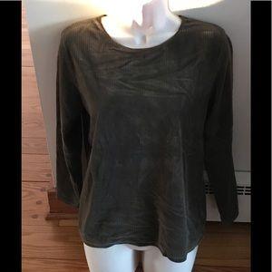 Eddie Bauer Medium Dark Green Velour Top Shirt
